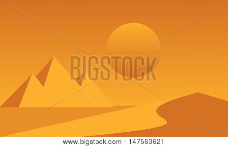 Egyptian great pyramids and sand dune in the desert on a background of the sun. Vector illustration.