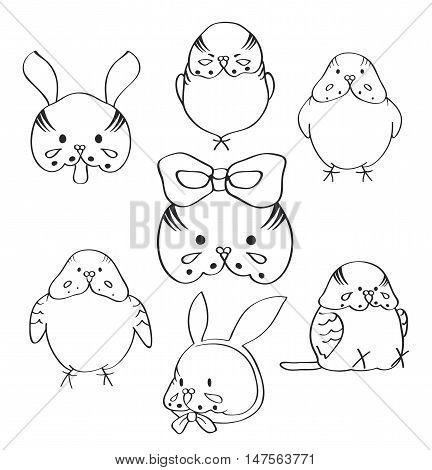 Cute birds. Cartoon set avatars pets on white background.