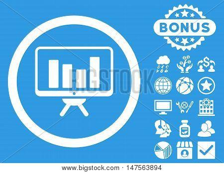 Bar Chart Monitoring icon with bonus images. Vector illustration style is flat iconic symbols, white color, blue background.