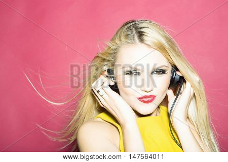 Pretty Blonde Dg Girl In Headset On Pink