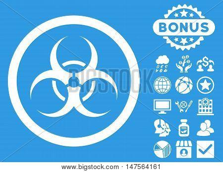 Biohazard Symbol icon with bonus symbols. Vector illustration style is flat iconic symbols, white color, blue background.