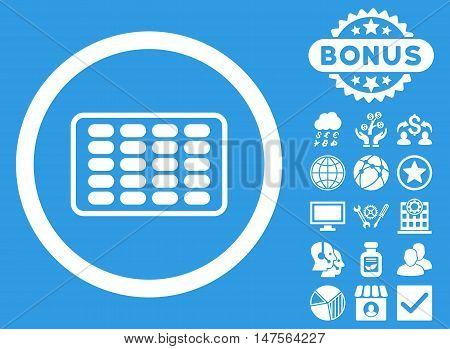 Blister icon with bonus pictures. Vector illustration style is flat iconic symbols, white color, blue background.