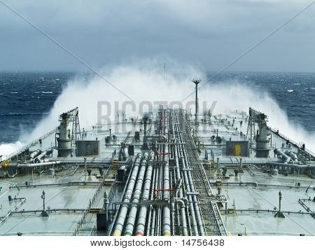 oil tanker ship on open rough sea