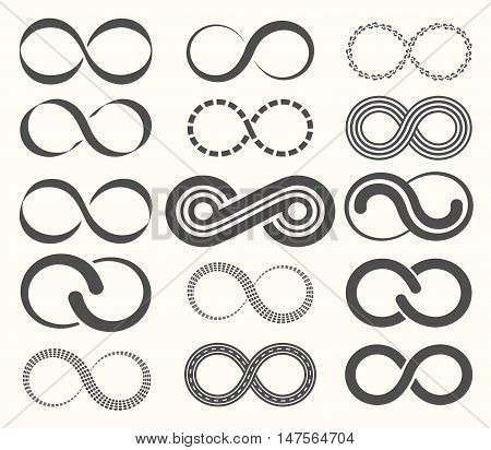 Infinity symbol set15 signs of eternity on white background.