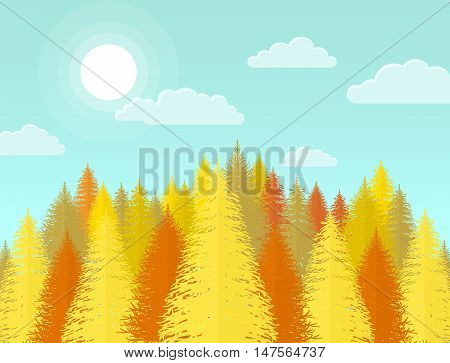 Autumn coniferous pine forest. Nature landscape with yellow trees and leaves.