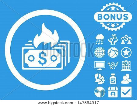 Burn Banknotes icon with bonus design elements. Vector illustration style is flat iconic symbols, white color, blue background.