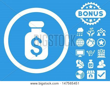 Business Remedy icon with bonus pictogram. Vector illustration style is flat iconic symbols, white color, blue background.