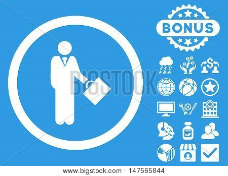 Businessman icon with bonus symbols. Vector illustration style is flat iconic symbols, white color, blue background.