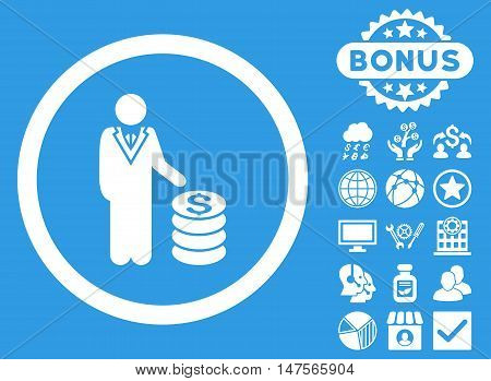 Businessman icon with bonus pictures. Vector illustration style is flat iconic symbols, white color, blue background.