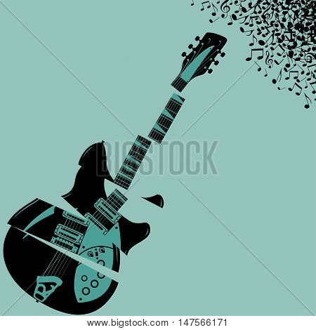 Shredded Guitar Music background with space for type