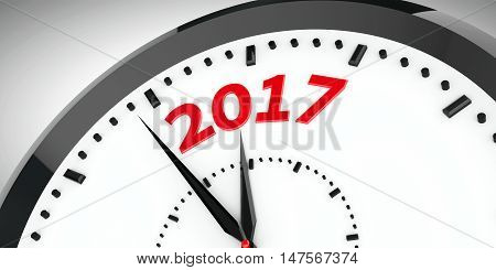 Black clock with 2017 represents coming new year 2017 three-dimensional rendering 3D illustration