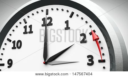 Clock switch to winter time (daylight saving time ends) isolated on a white three-dimensional rendering 3D illustration