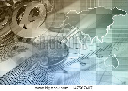 Financial background with money calculator map buildings and pen toned.