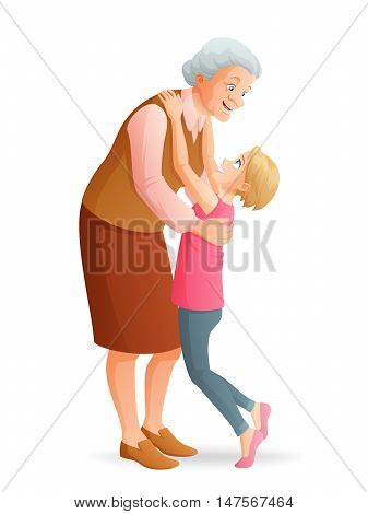 Happy smiling grandmother hugging her granddaughter. Cartoon vector illustration isolated on white background.