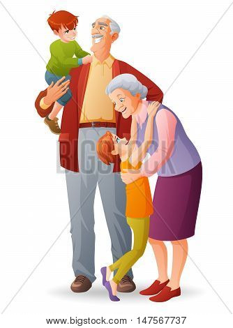 Happy senior couple. Smiling grandparents with their cheerful grandchildren. Cartoon style vector illustration isolated on white background.