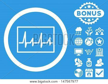 Cardiogram icon with bonus symbols. Vector illustration style is flat iconic symbols, white color, blue background.