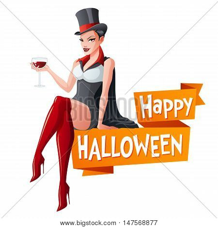 Sexy brunette woman sitting with glass of wine in Dracula vampire Halloween costume and fangs. Cartoon style vector illustration with text isolated on white background.