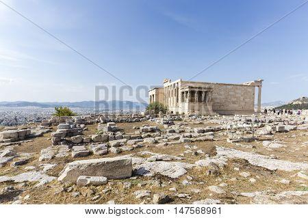 background image of Caryatides, Erechtheion temple Acropolis, Athens, Greece
