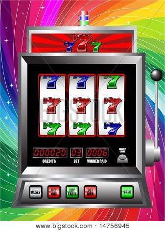 casino slot machine with colorful background