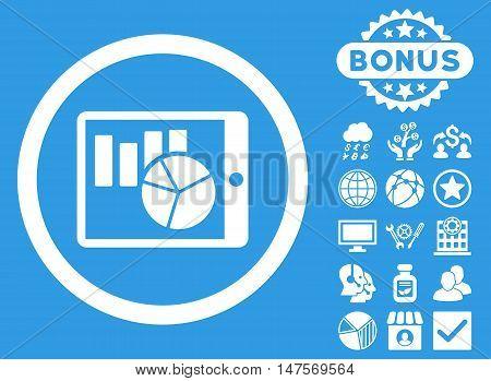 Charts on Pda icon with bonus symbols. Vector illustration style is flat iconic symbols, white color, blue background.