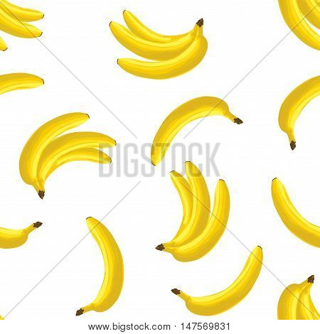 Vector seamless pattern with yellow bananas on white background