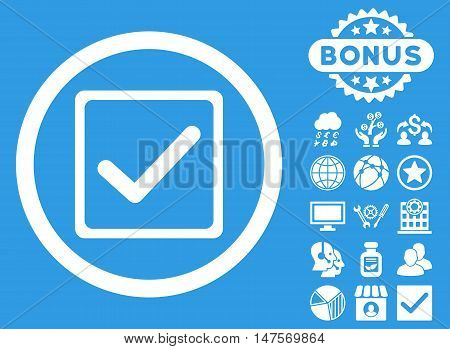 Checkbox icon with bonus pictures. Vector illustration style is flat iconic symbols, white color, blue background.