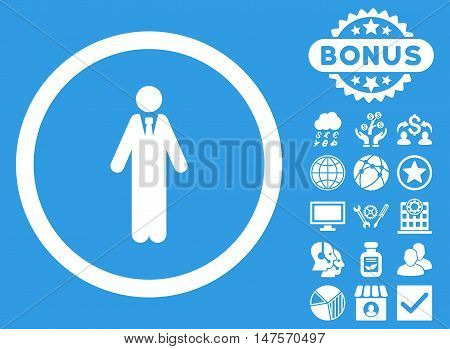 Clerk icon with bonus symbols. Vector illustration style is flat iconic symbols, white color, blue background.