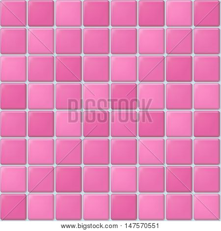 Vector seamless pattern of pink square mosaic. Tile background