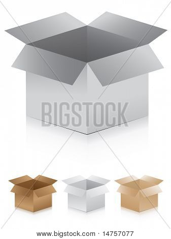 3d vector illustrated carton boxes