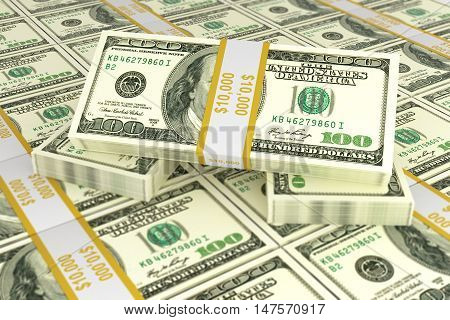 Concept of dollars for business and trade 3d