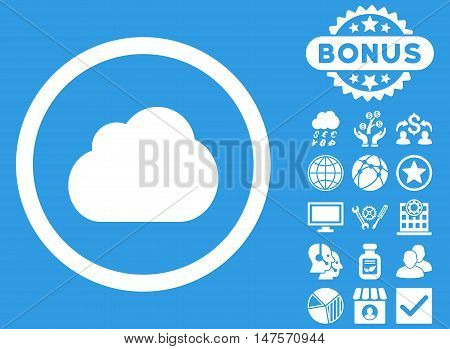 Cloud icon with bonus design elements. Vector illustration style is flat iconic symbols, white color, blue background.