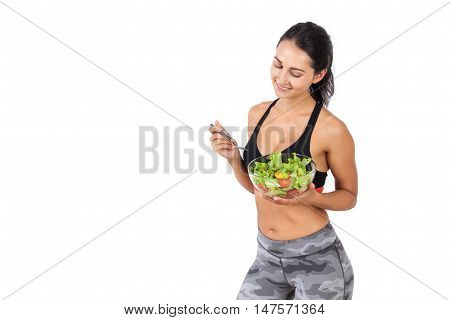 Smiling Girl With Bowl Of Salad
