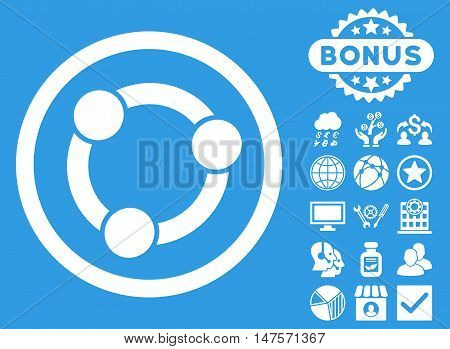 Collaboration icon with bonus images. Vector illustration style is flat iconic symbols, white color, blue background.
