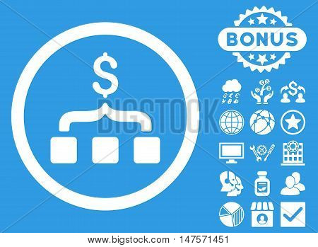 Collect Money icon with bonus images. Vector illustration style is flat iconic symbols, white color, blue background.