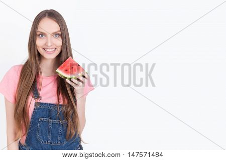 Smiling Girl With Watermelon