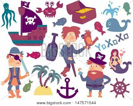 Lovely pirate set in cartoon style. Vector eps