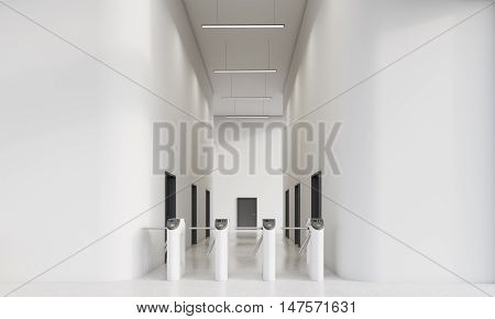 Turnstiles in office with white walls. Multiple black doors in corridor of the building. Concept of modern architecture and business building. 3d rendering. Mock up