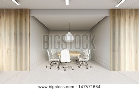 Meeting room interior with wooden and white walls. Large table surrounded by white office chairs. Concept of board meeting. 3d rendering