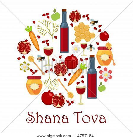 Jewish new year holiday elements for Rosh Hashanah Jewish New Year. Shana tova Rosh Hashanah vector greeting card design for Jewish New Year. Rosh Hashanah celebration hashanah shana tova symbols