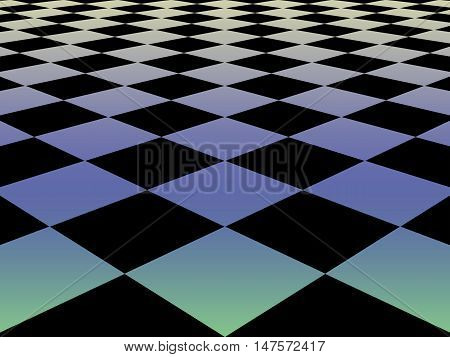 Checkered Background Floor Pattern In Perspective With A Black And White Geometric Design