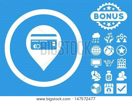 Credit Card Pointer icon with bonus symbols. Vector illustration style is flat iconic symbols, white color, blue background.