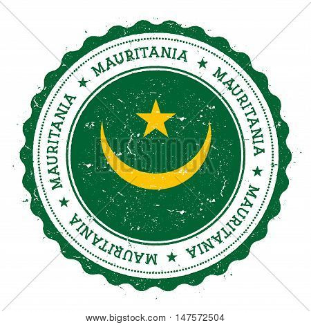 Grunge Rubber Stamp With Mauritania Flag. Vintage Travel Stamp With Circular Text, Stars And Nationa