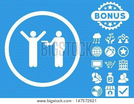 Crime icon with bonus pictogram. Vector illustration style is flat iconic symbols, white color, blue background.