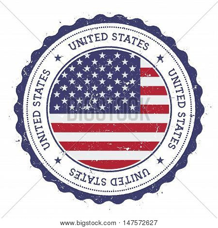 Grunge Rubber Stamp With United States Flag. Vintage Travel Stamp With Circular Text, Stars And Nati