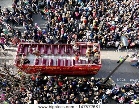 London, Uk - 14 February 2016: Red Open Double Decker Bus In Chinese New Year 2016