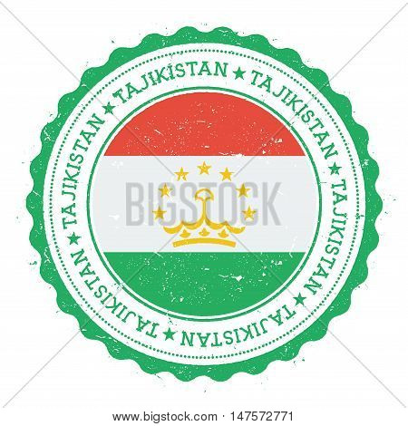 Grunge Rubber Stamp With Tajikistan Flag. Vintage Travel Stamp With Circular Text, Stars And Nationa