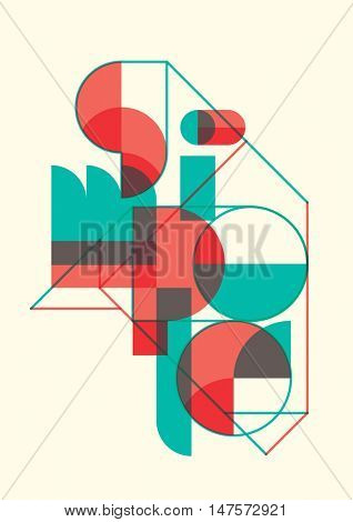 Conceptual illustration with abstract typography. Vector illustration.