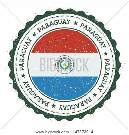 Grunge Rubber Stamp With Paraguay Flag. Vintage Travel Stamp With Circular Text, Stars And National