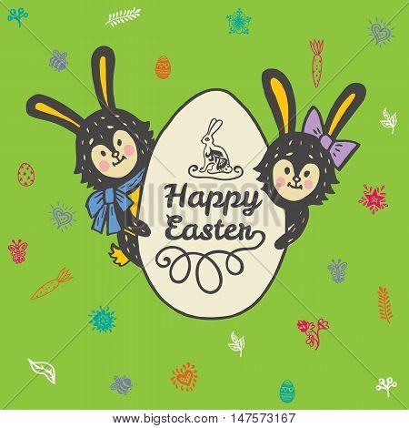 Happy Easter card with rabbits and egg. Vector illustration of Easter ornamental card with hare on green background.