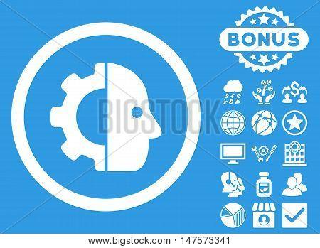 Cyborg icon with bonus images. Vector illustration style is flat iconic symbols, white color, blue background.